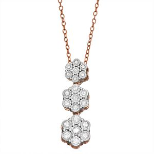 Sterling Silver 1/4 Carat T.W. Diamond Flower Linear Pendant Necklace