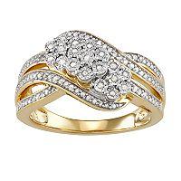 Sterling Silver Women's 1/4 Carat T.W. Diamond Cluster Swirl Ring (Gold Tone)