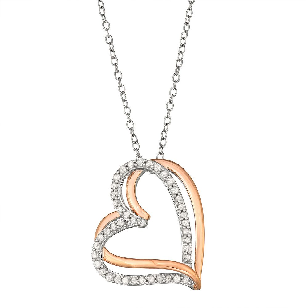 Two Tone Sterling Silver 1/4 Carat T.W. Diamond Interlocking Heart Pendant Necklace