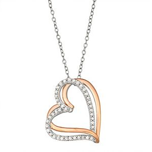 Two Tone Sterling Silver 1/4 Carat T.W. Diamond Interlocking Heart Pendant Necklace
