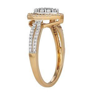 Sterling Silver 1/4 Carat T.W. Diamond Heart Halo Ring