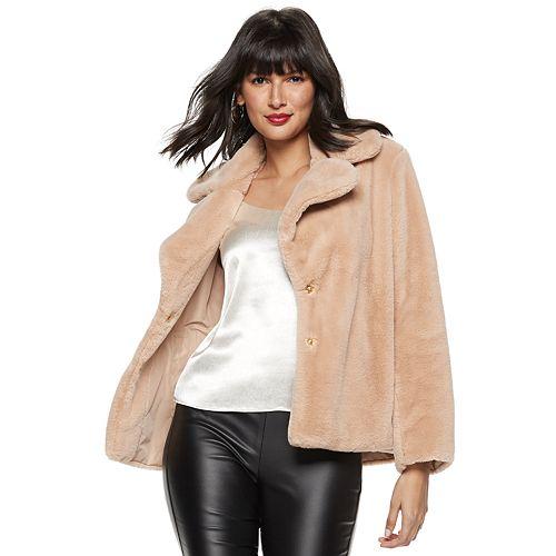 Women's Nine West Faux-Fur Short Coat