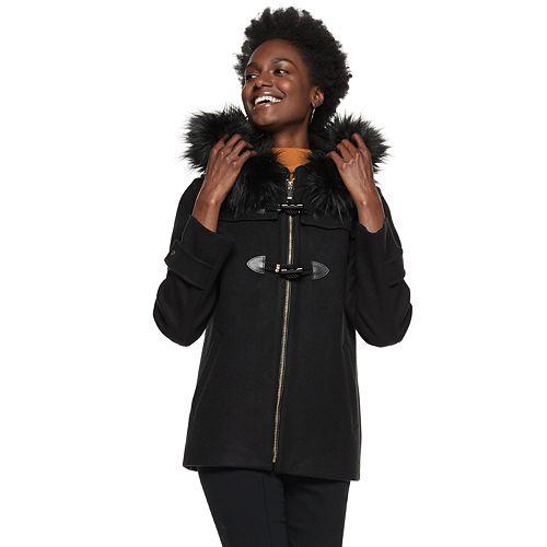 Petite Nine West Hooded Faux-Fur Trim Toggle Coat