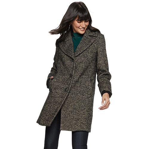Women's Nine West Tweed Single-Breasted Wool-Blend Coat