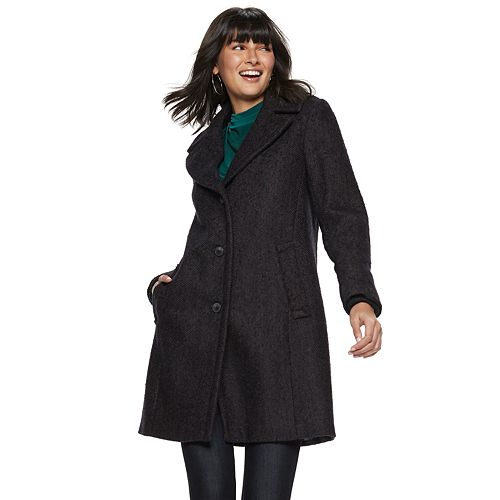Women's Nine West Tweed Single-Breasted Wool-Blend Coat