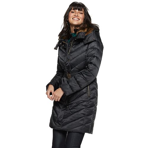 Women's Nine West Belted Faux-Fur Quilted Puffer Coat