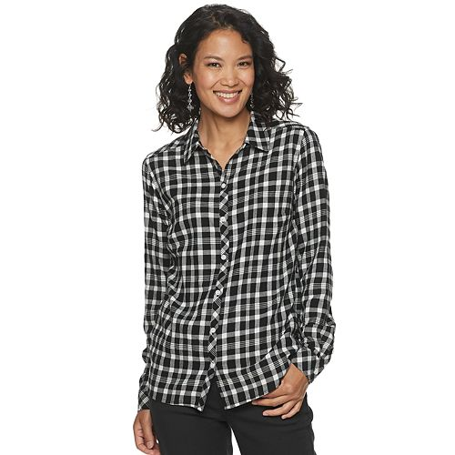Petite Croft & Barrow® Print Flannel Shirt