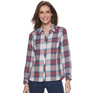 Petite Croft & Barrow® Print Flannel Shirt