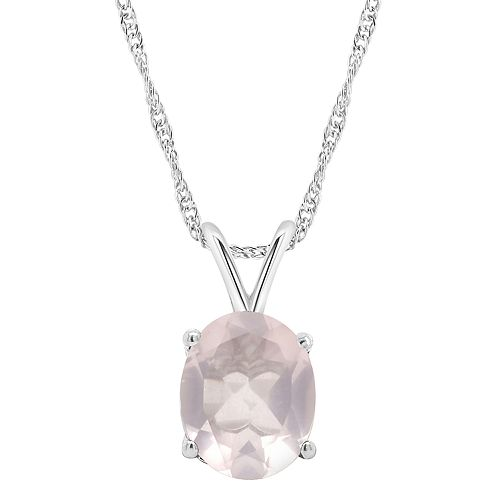 Sterling Silver Gemstone Oval Pendant Necklace