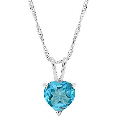 Sterling Silver Gemstone Heart Pendant Necklace