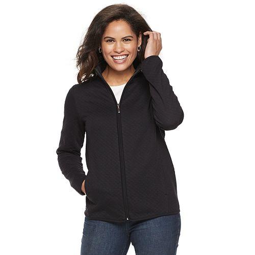 Petite Croft & Barrow® Quilted Zip-Front Jacket