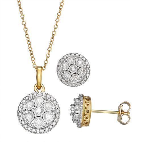 Sterling Silver 1/2 Carat T.W. Diamond Pendant & Stud Earring Set