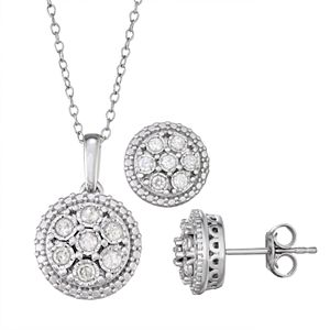 Sterling Silver 1/2 Carat T.W. Diamond Pendant & Stud Earring Set