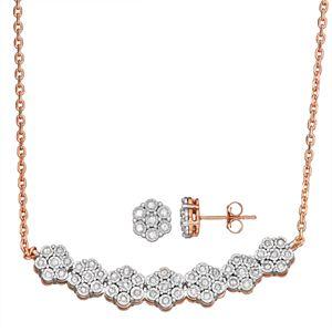 Sterling Silver 1/2 Carat T.W. Diamond Flower Necklace & Earring Set