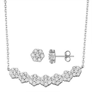 Sterling Silver 1/2 Carat T.W. Diamond Flower Necklace & Earring Set
