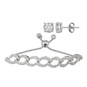 Sterling Silver 1/2 Carat T.W. Diamond Adjustable Bracelet & Stud Earring Set