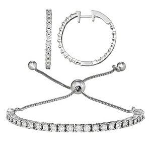 Sterling Silver 1/2 Carat T.W. Diamond Adjustable Bracelet & Hoop Earring Set
