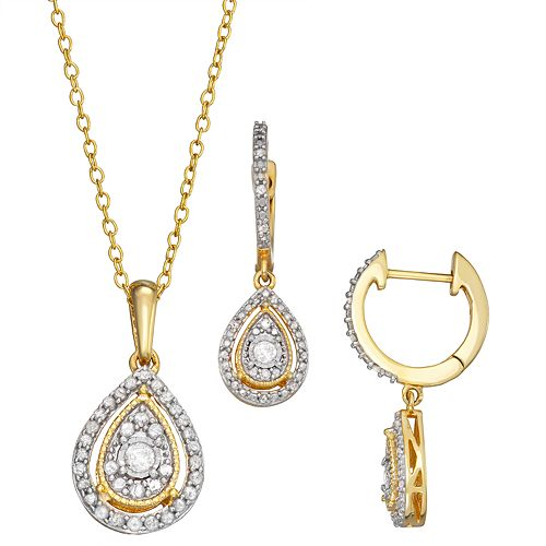 Sterling Silver 1/2 Carat T.W. Diamond Teardrop Pendant & Drop Earring Set