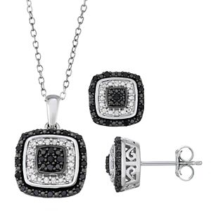 Sterling Silver 1/2 Carat T.W. Black & White Diamond Pendant & Earring Set