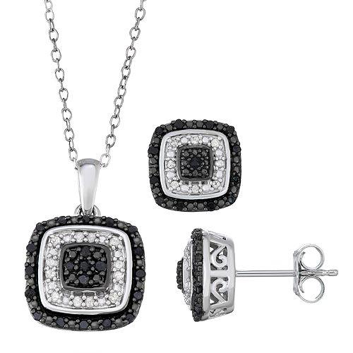 Sterling Silver 1/2 Carat T.W. Black & White Diamond Pendant & Earring Set