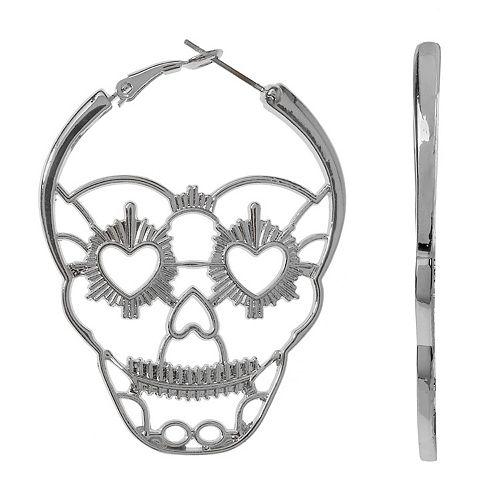 Candy Skull Nickel Free Hoop Earrings by Unbranded