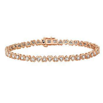 Sterling Silver 1/4 Carat T.W. Diamond Heart Tennis Bracelet + $10 Kohls Cash