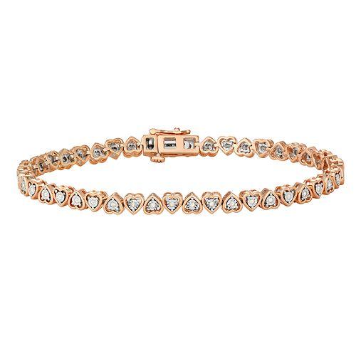 Sterling Silver 1/4 Carat T.W. Diamond Heart Tennis Bracelet