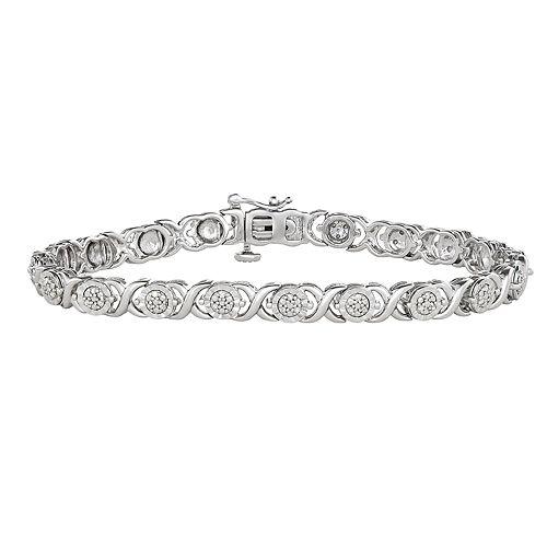 """Sterling Silver 1/4 Carat T.W. Diamond """"XO"""" Bracelet"""