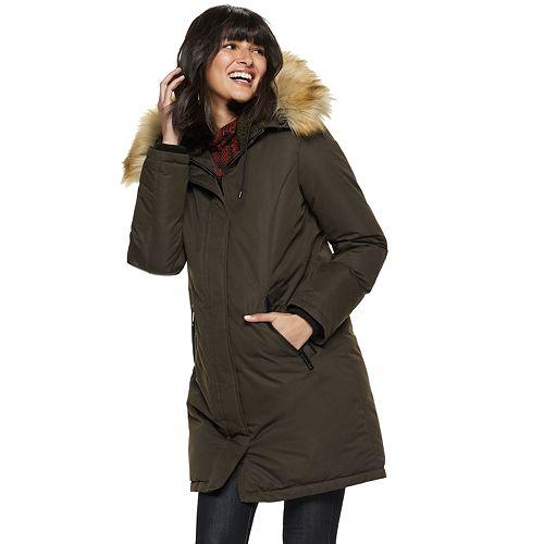 Women's Nine West Faux-Fur Trim Hooded Parka Coat