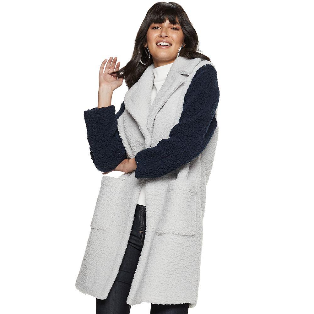Women's Nine West Long Teddy Coat