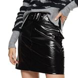 Women's Nine West Belted Faux-Leather Mini Skirt