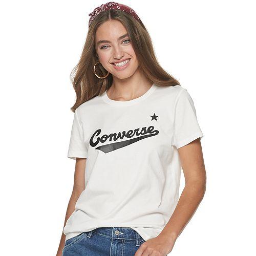 Juniors' Converse Script Logo Tee