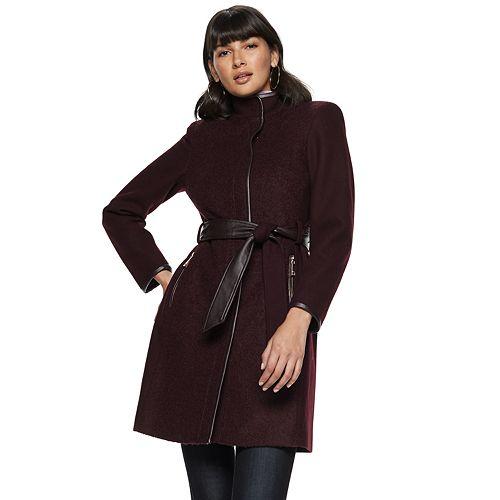 Women's Nine West Faux-Leather Binding Wool-Blend Coat