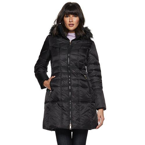 Women's Nine West Faux-Fur Trim Quilted Parka Coat