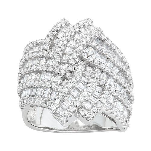 Sterling Silver Cubic Zirconia Basketweave Ring