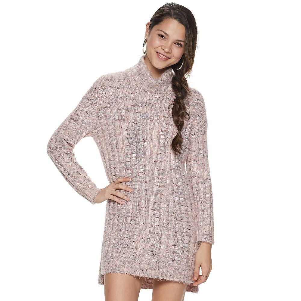 Juniors' Rewind Eyelash Turtleneck Sweater Dress