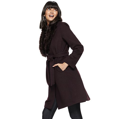 Women's Nine West Faux-Fur Shawl Collar Belted Wool-Blend Coat