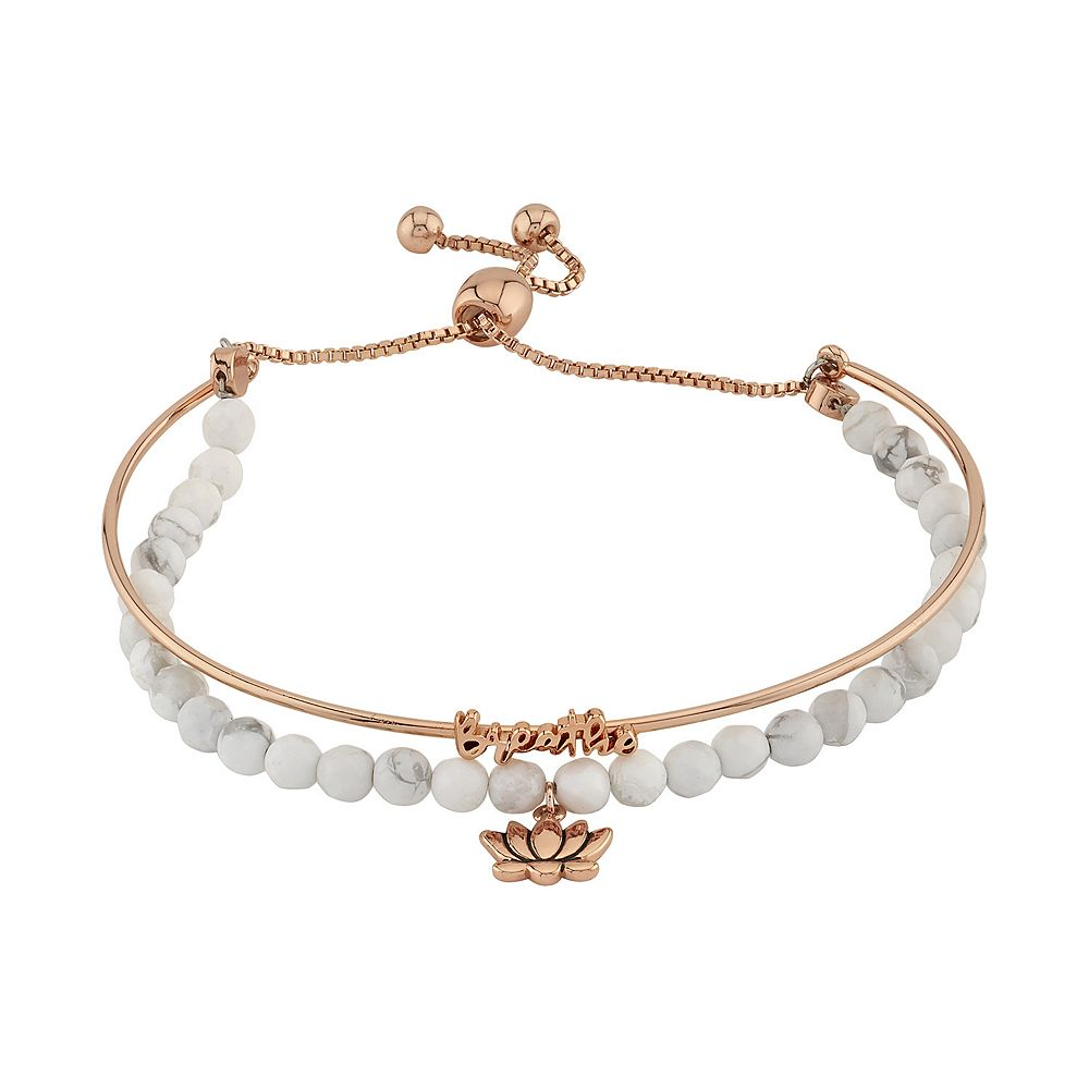 LovethisLife® Breathe Lotus Flower Bolo Bracelet