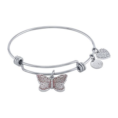 "LovethisLife® "" With Brave Wings She Flies"" Butterfly Bangle Bracelet"