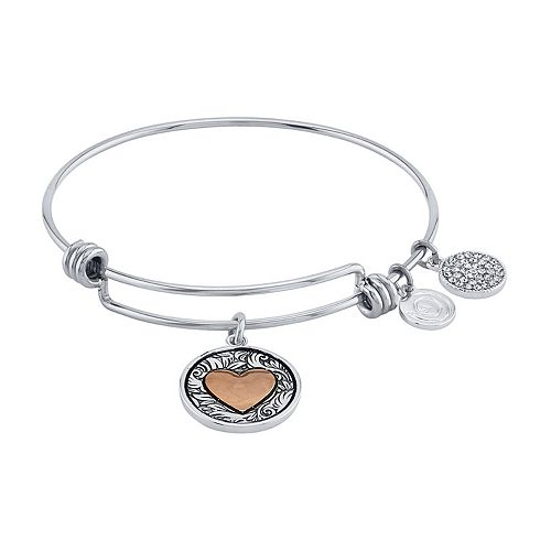 LovethisLife® Two-Tone Heart Bangle Bracelet