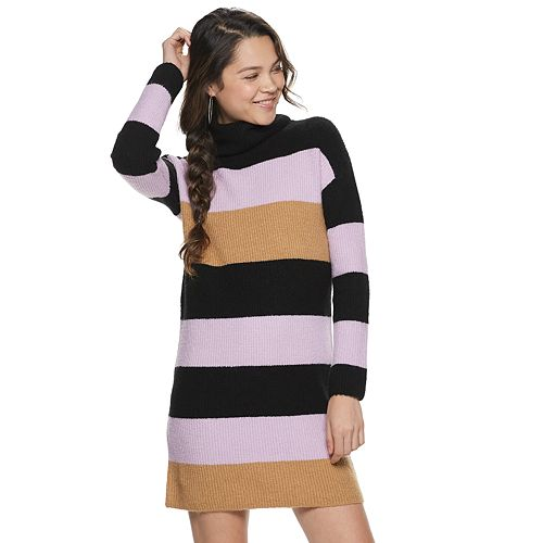 Juniors' Rewind Striped Turtleneck Sweater Dress