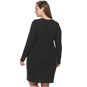 Juniors' Plus Size SO® 1/4-Zip Crew Bodycon Dress