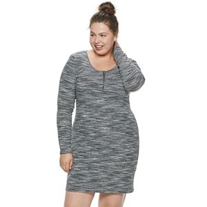 Juniors\' Plus SIze SO® Long Sleeve Turtleneck Bodycon Dress