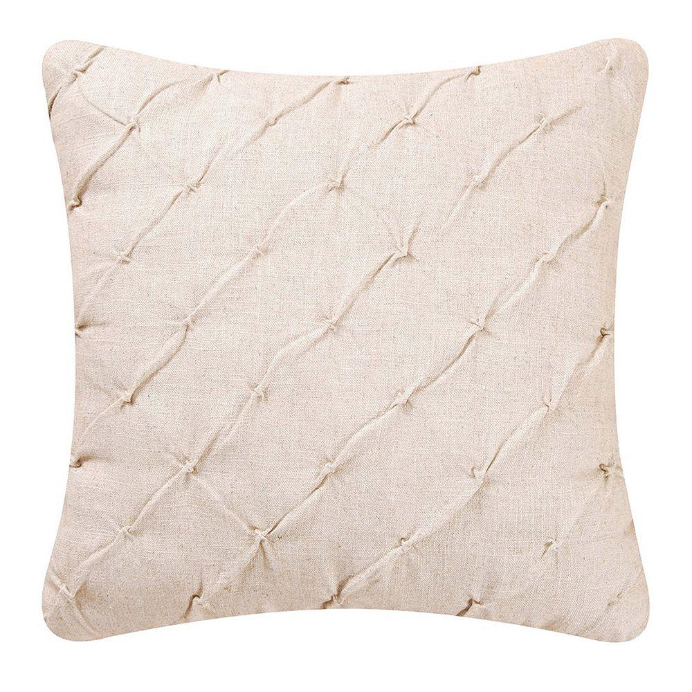 Diamond Tuck Cream Throw Pillow