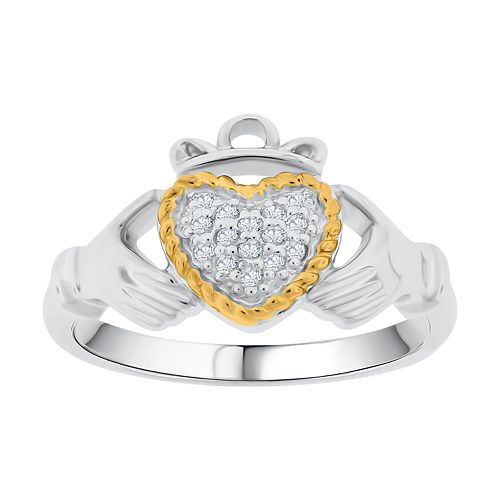 Sterling Silver Lab-Created White Sapphire Clauddaugh Ring