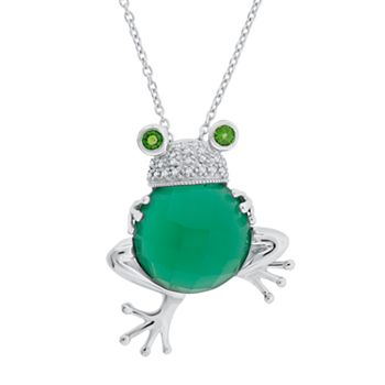 Silver Yellow Plated Frog Charm 26mm