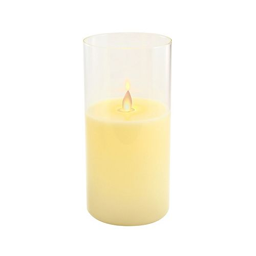 """LumaBase 8"""" Battery Operated LED Realistic Flame Wax Candle in Glass Holder"""
