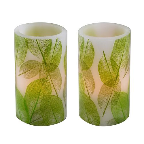 LumaBase Battery Operated LED Wax Candles- Lace Leaf (Set of 2)