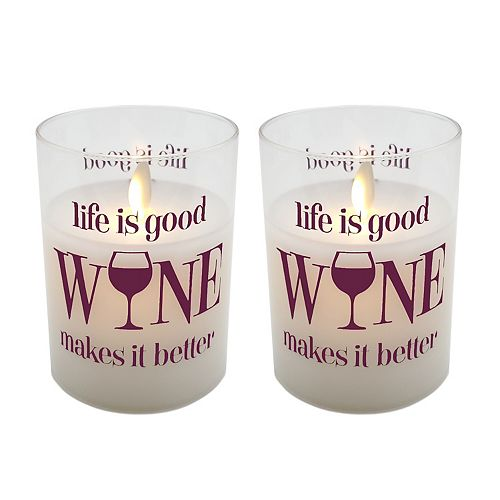 """LumaBase """"Life is Good, Wine Makes it Better"""" Battery Operated LED Wax Candles in Glass Holders (Set of 2)"""