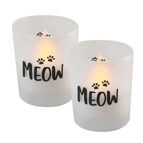 """LumaBase """"Meow"""" Battery Operated LED Wax Candles in Glass Holders (Set of 2)"""
